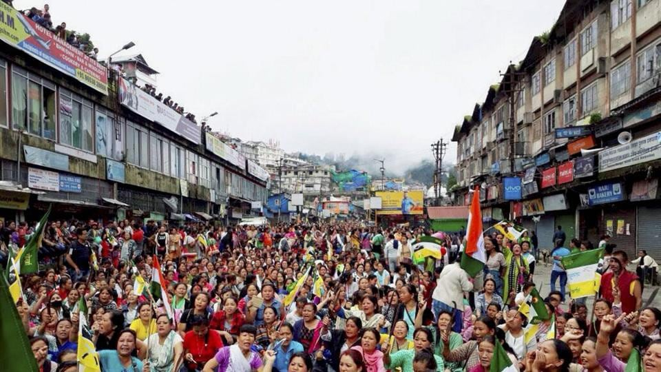 Nari Morcha members hold a khukri rally in support of a separate state of Gorkhaland, in Darjeeling on Friday.