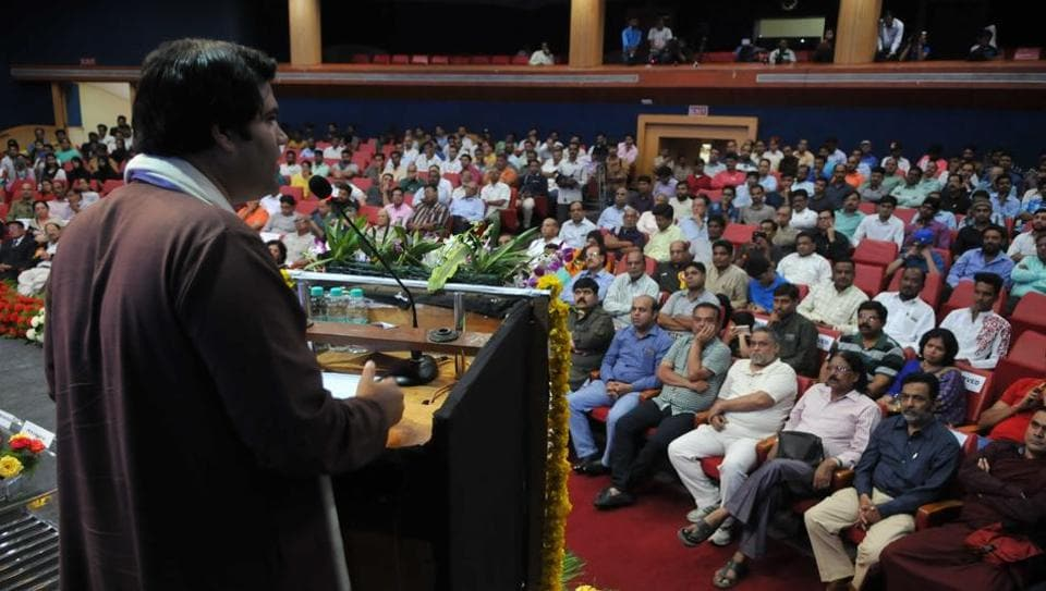 BJP MP Varun Gandhi addresses a seminar on political reforms at Bhopal on Sunday.
