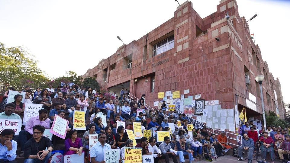 The march attended by almost 100 people, including members of the JNU Student Union (JNUSU) and other students, culminated at the administrative block of JNU.