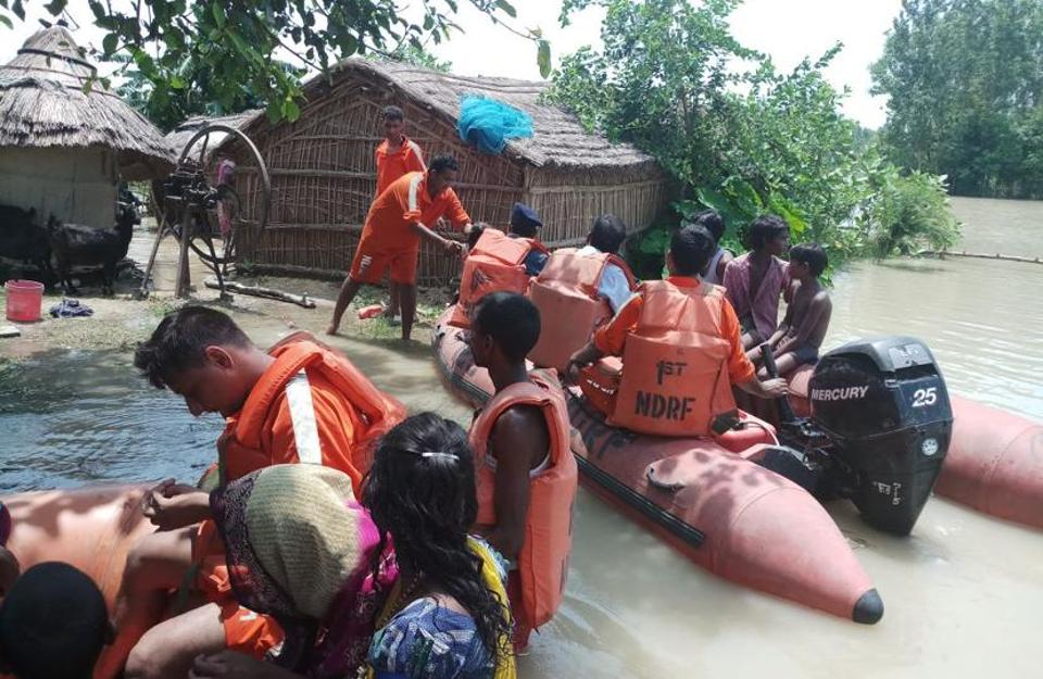 NDRF team in action at Bahraich village.