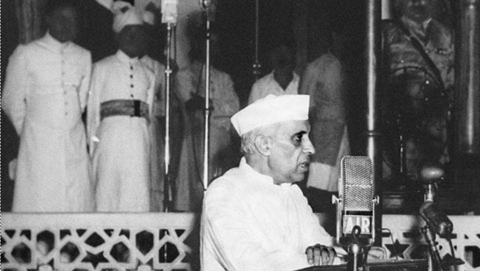 Jawaharlal Nehru, delivers his famous 'Tryst with destiny' speech at Parliament House as India gains Independence from British rule, on 15 August, 1947 in New Delhi.