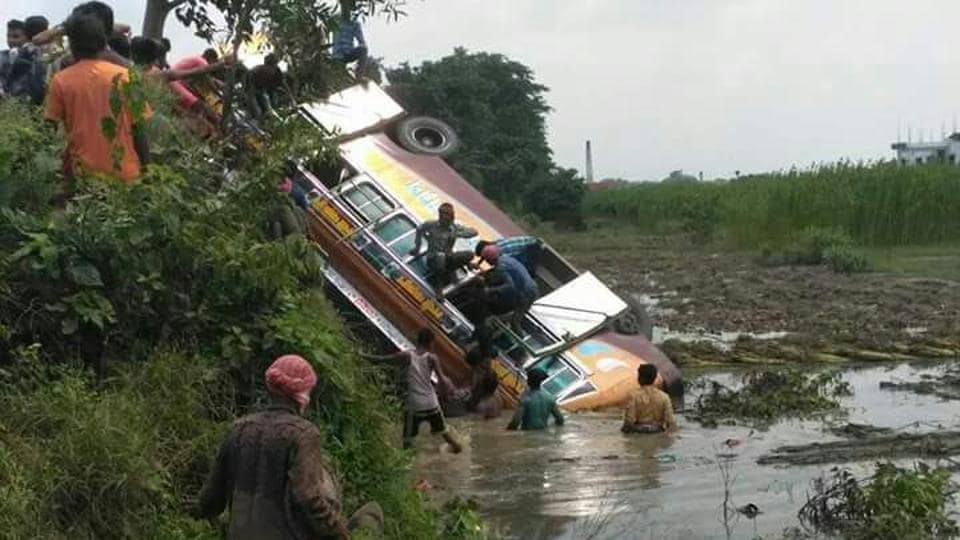 The bus that plunged in a ditch in Nadia district.