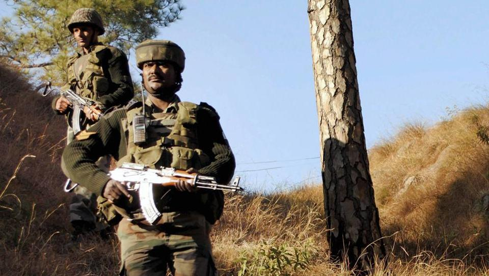 Army soldiers take positions near the Line of Control in Balakot sector of Poonch at Jammu.