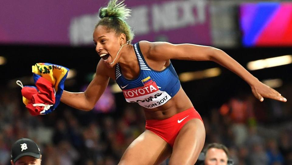 Venezuela's Yulimar Rojas celebrates her victory in the final of the women's triple jump at the 2017 IAAF World Championships in London on August 7.