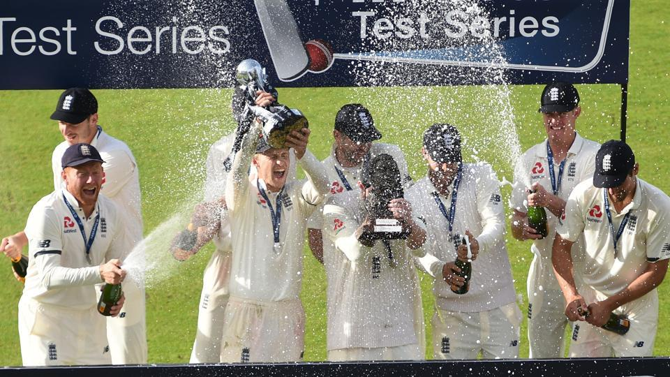 England players celebrate after defeating South Africa 3-1 in the four-Test series at home.