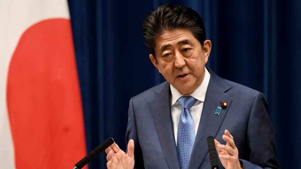 This file photo taken on June 19, 2017 shows Japan's Prime Minister Shinzo Abe answering a question during a press conference at his official residence in Tokyo.