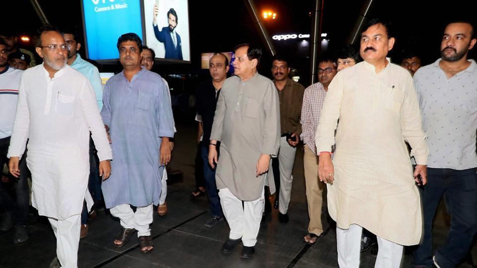 Senior Congress leaders Bharatsinh Solanki, Arjun Modhwadia, Ahmed Patel at Ahmedabad airport during arrival of the party's MLAs from Karnataka on Monday, ahead of Rajya Sabha elections.