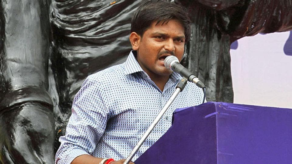 Hardik Patel addresses a rally in Ahmedabad. (AP File Photo)