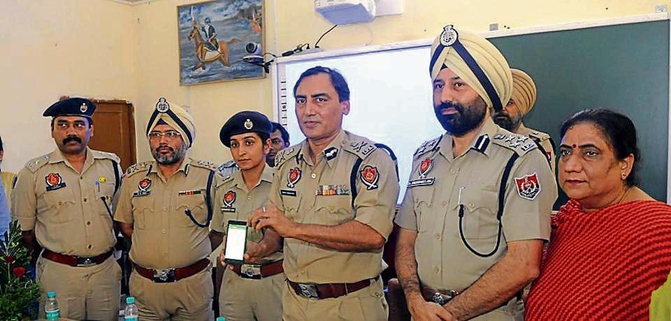ADGP Rohit Choudhary launching new mobile app in Patiala on Tuesday.