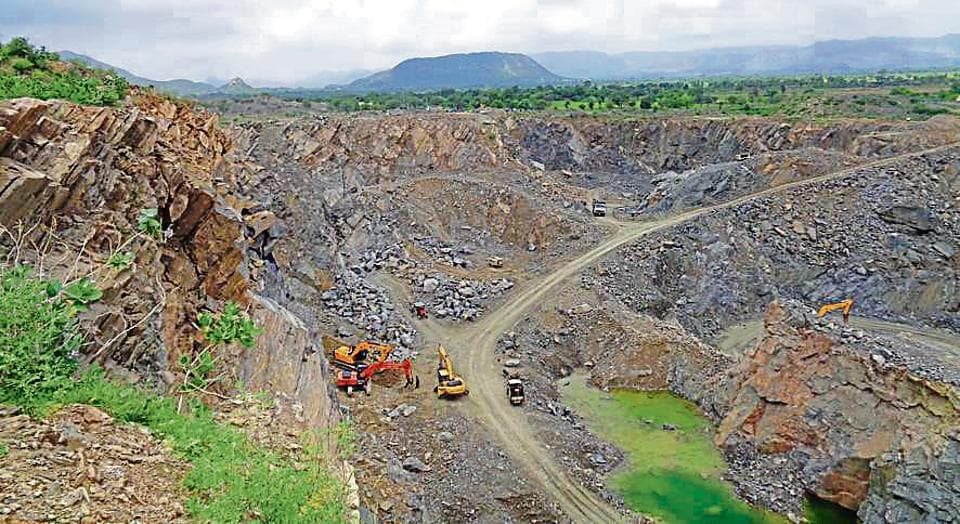 Mining in progress close to the Rela dam in Sikar district of Rajasthan.