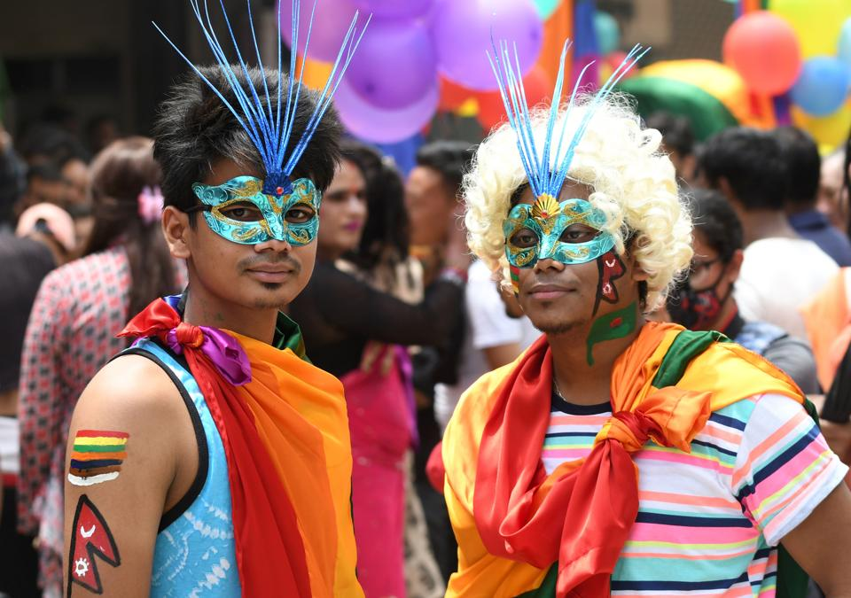 Nepal's LGBT community takes part in a gay pride parade in Kathmandu on August 8, 2017.