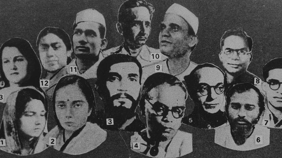 A poster of Aruna Asif Ali(extreme left, front) along with other revolutionary leaders of various underground movements. Aruna Asif Ali is widely remembered for hoisting the Indian National Congress flag at the Gowalia Tank maidan in Bombay during the Quit India Movement in 1942.  (HT Photo)