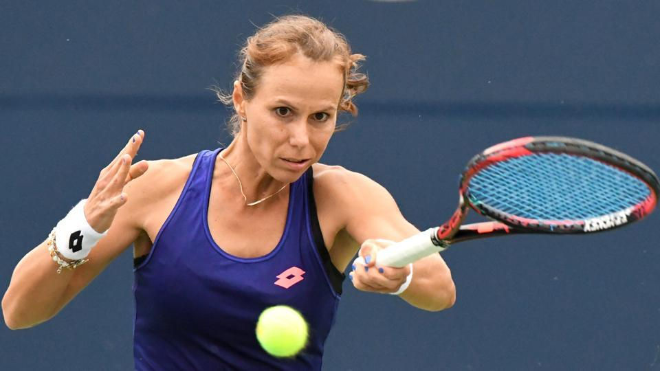 Varvara Lepchenko of the United States defeated Jelena Ostapenko of Latvia during the Rogers Cup tennis tournament at Aviva Centre.
