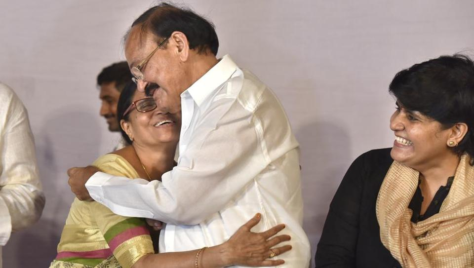 Vice President-elect M Venkaiah Naidu with his wife and family members in New Delhi, on August 5.