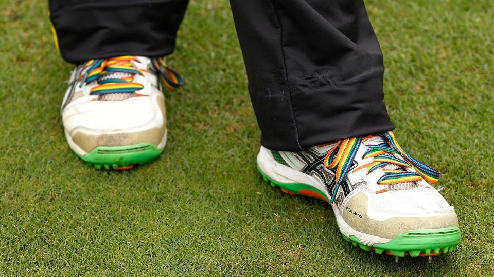 Rainbow colours are being used on clothes, shoes, stumps among other things to welcome the LGBTcommunity into cricket in England.