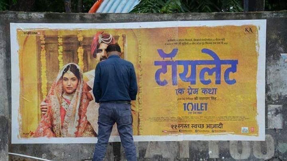Toilet - Ek Prem Katha: The irony of a man urinating on a poster of Akshay Kumar's new film wasn't lost on social media.