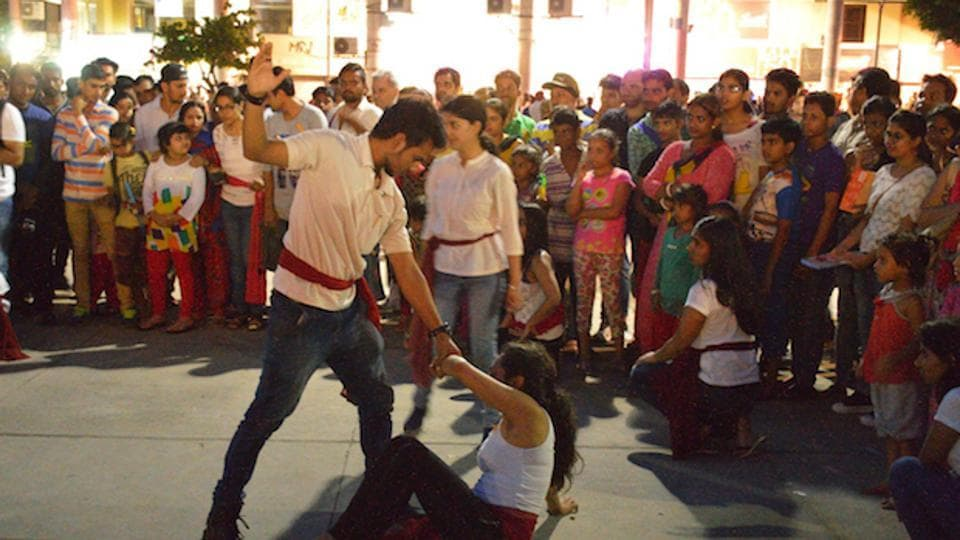 A street theatre performance on domestic violence in Chandigarh.