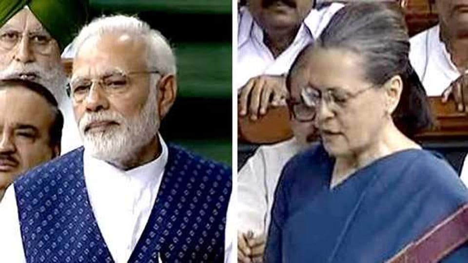 Prime Minister Narendra Modi and Congress president Sonia Gandhi in the Lok Sabha on August 9, 2017.