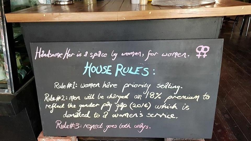 The rule board at Handsome Her cafe in Brunswick, Melbourne.
