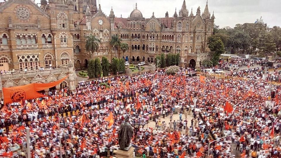 CSTis engulfed in a sea of saffron as protesters make their way to the iconic terminus.