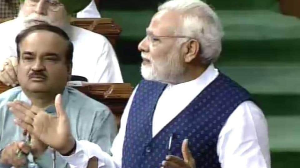 Prime Minister Narendra Modi addresses the lower house of Parliament on Wednesday.