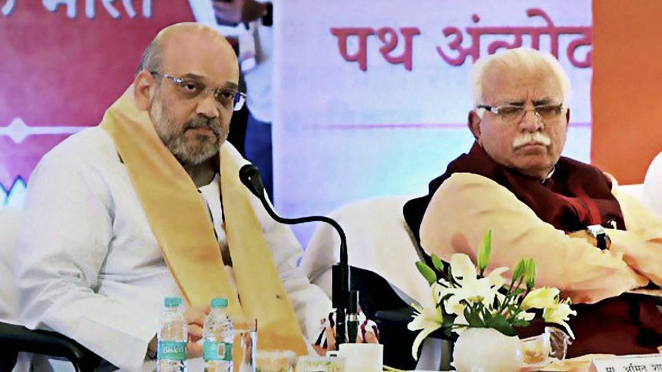 BJP National President, Amit Shah with Haryana Chief Minister Manohar Lal Khattar at a meeting of Pt. Deendayal Upadhyaya Karya Vistar Yojana in Rohtak on August 4, 2017.