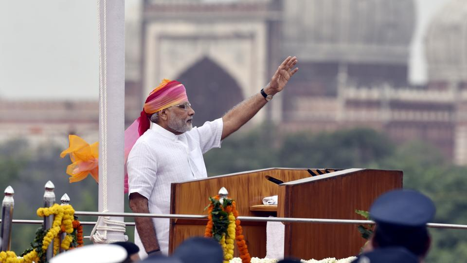 Prime Minister Narendra Modi giving the Independence Day address at Red Fort in New Delhi on August 15, 2016.