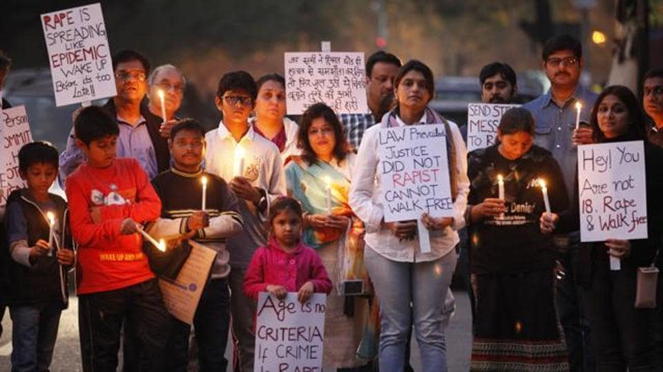 People gathered at Jantar Mantar in 2015 to protest against the release of a juvenile who raped a 23-year-old paramedical student in Delhi on December 16, 2012.