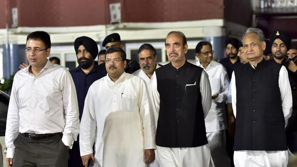 Congress leaders P Chidambaram, Ashok Gehlot, Ghulam Nabi Azad, Mukul Wasnik and Anand Sharma coming out of the Election Commission of India, in New Delhi.