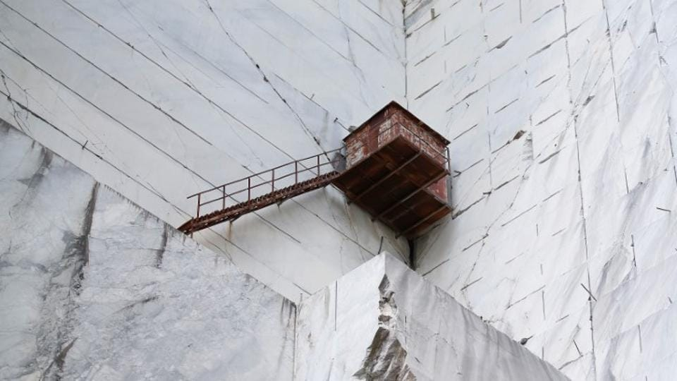 A refuge is seen at the Cervaiole marble quarry on Monte Altissimo in Tuscany, Italy. In the three centuries following Michelangelo's time, the Altissimo quarries went through cycles of abandonment and re-discovery.  (Alessandro Bianchi / REUTERS)
