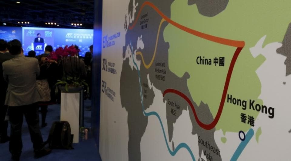A map illustrating China's silk road economic Belt and the 21st century maritime silk road is displayed at the Asian Financial Forum in Hong Kong, China on January 18, 2016.