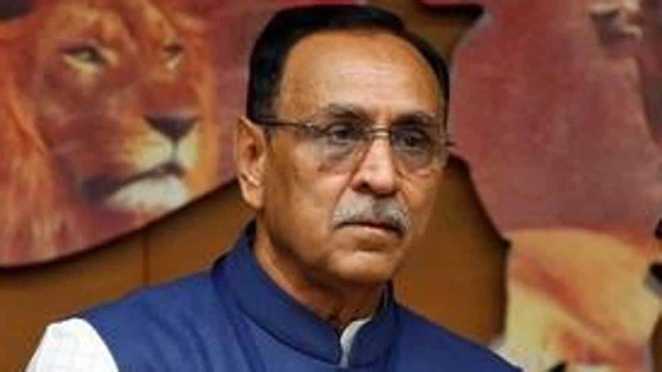 Chief minister of Gujarat Vijay Rupani in casts his vote during Presidential election the Gandhinagar.