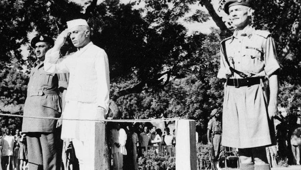 Jawaharlal Nehru salutes the Indian flag as he becomes independent India's first prime minister on August 15, 1947 at Red Fort in New Delhi.