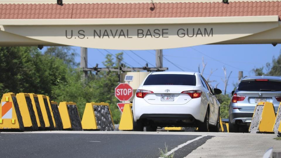 In this May 11, 2017, file photo, cars enter Naval Base Guam near Hagatna, Guam. Security and defense officials on Guam said on Aug. 9, 2017, that there is no imminent threat to people there or in the Northern Mariana Islands after North Korea said it was examining its operational plans for attack.