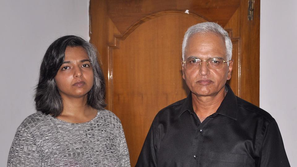 Varnika Kundu and her father VS Kundu at their Panchkula residence.