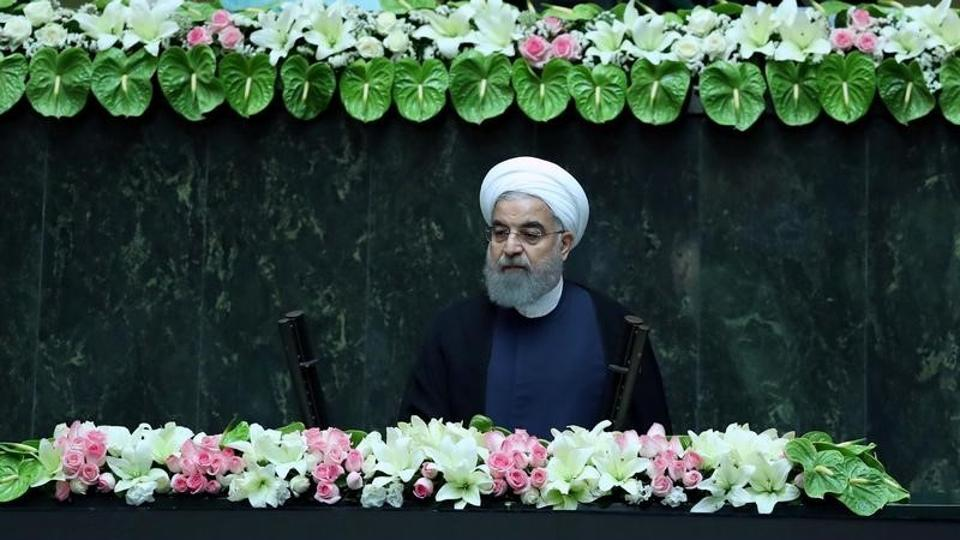 Iranian president Hassan Rouhani attends his swearing-in ceremony for a further term, at the Parliament in Tehran, Iran.