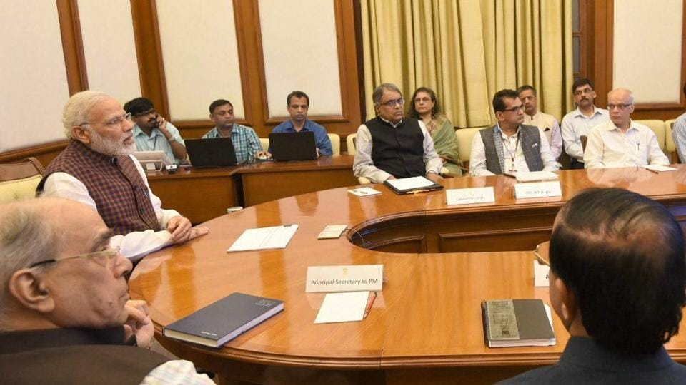 Prime Minister Narendra Modi addresses district collectors across the country via video conference, on the theme New India – Manthan, in New Delhi on Wednesday.