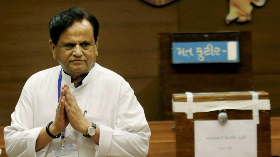 Congress leader Ahmed Patel after casting his vote for the Rajya Sabha election at the Secretariat in Gandhinagar on Tuesday.  It is a big victory for Patel, Congress president Sonia Gandhi's political secretary, who would have faced many party snipers had he lost
