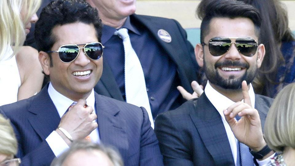 Sachin Tendulkar and Indian cricket team skipper Virat Kohli seen in the Royal Box on Centre Court at the All England Lawn Tennis Championships in Wimbledon.