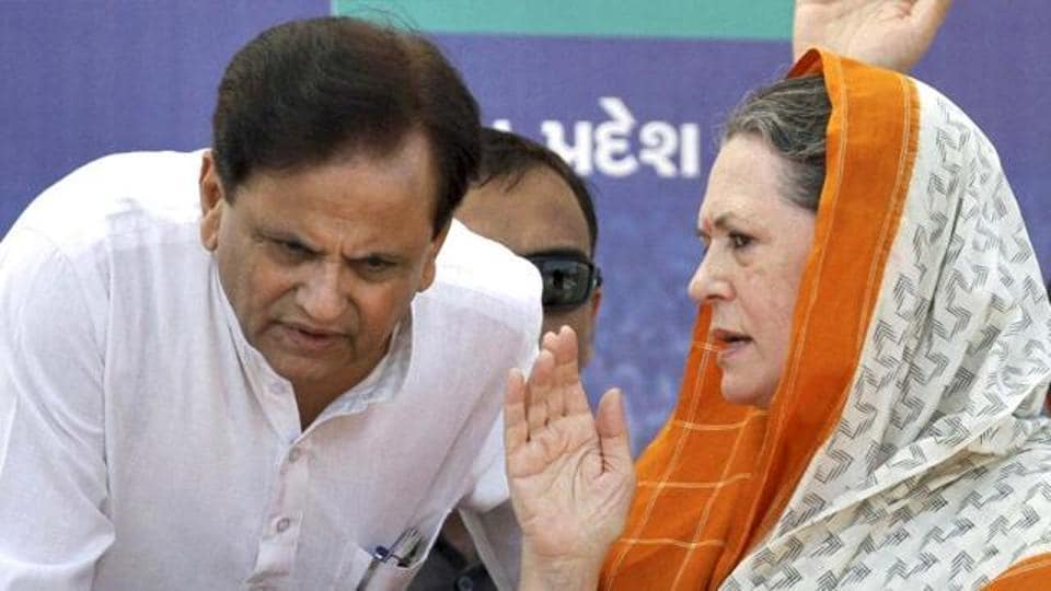 Gujarat Congress leader Ahmed Patel with party chief Sonia Gandhi. If the ballots cast by the two rebel MLAs were not disqualified, Patel would have required 45 votes – one more than what he eventually got – to win.
