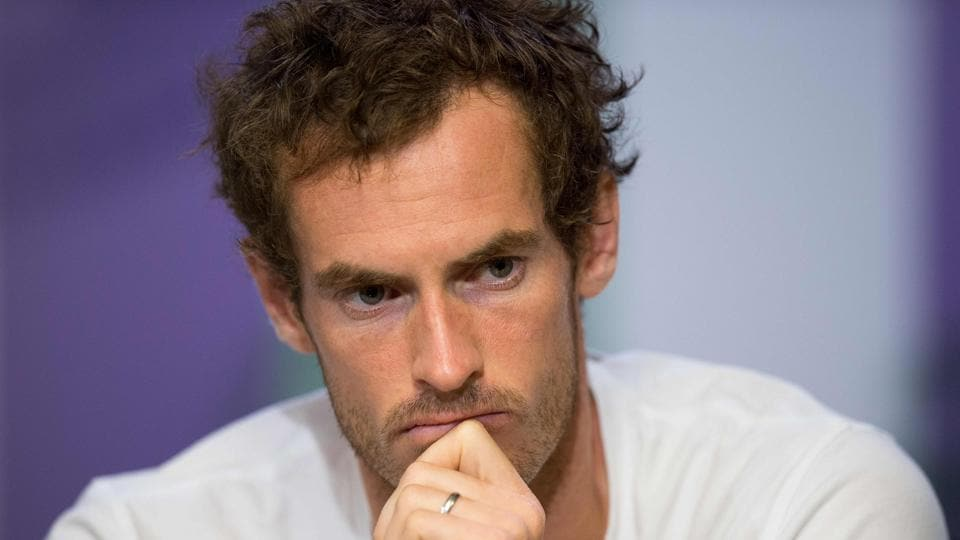 Britain's Andy Murray attends a press conference at The All England Tennis Club in Wimbledon,.