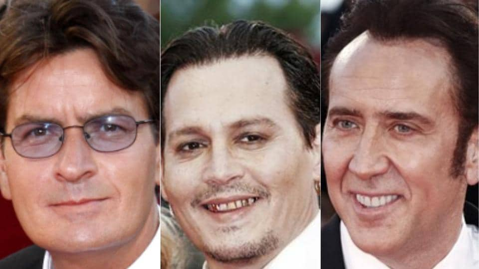 From left: Charlie Sheen, Johnny Depp and Nicolas Cage.