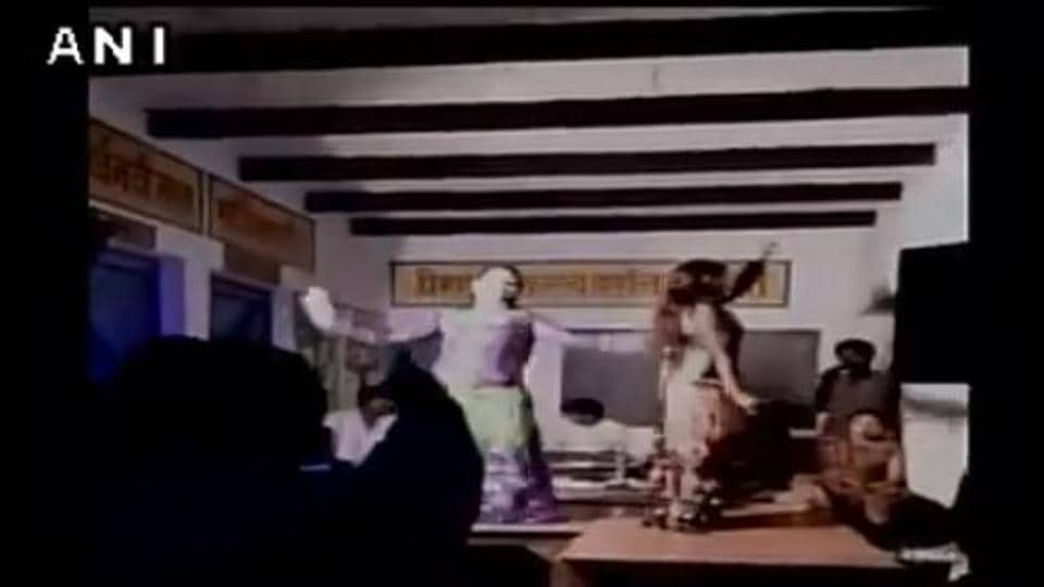 Screengrab of a video of the party held at a school for primary students in UP.