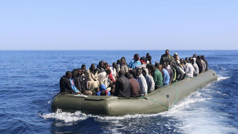 Some 180 Ethiopian and Somali migrants were forced into rough seas off Yemen by smugglers.