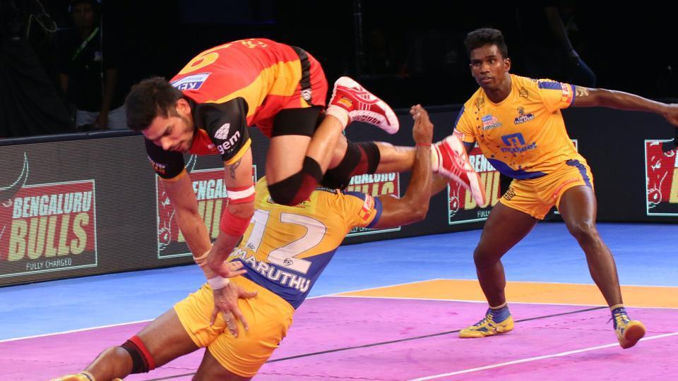 Hot raiding action during the Tamil Thalaivas vs Bengaluru Bulls 2017 Pro Kabaddi League (PKL) match on Thursday.