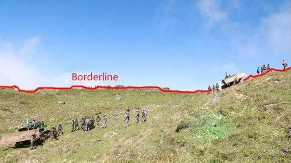 Photo tweeted by People's daily of China that claiming that the Indian forces have crossed over to the Chinese side.