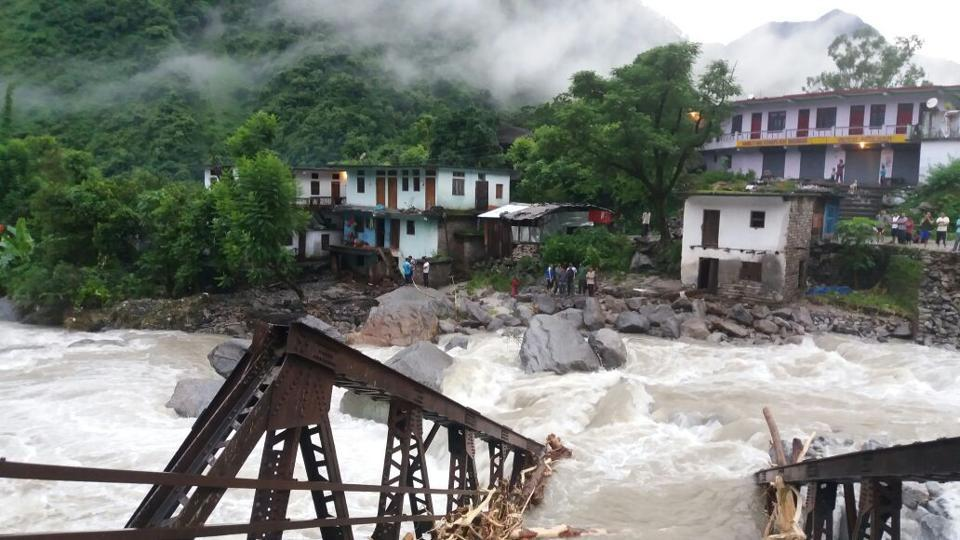 A bridge, connecting Pithoragarh to Munsiari, collapsed after the water in local rivulet Gosi rose sharply due to heavy rains triggered by the cloudburst.