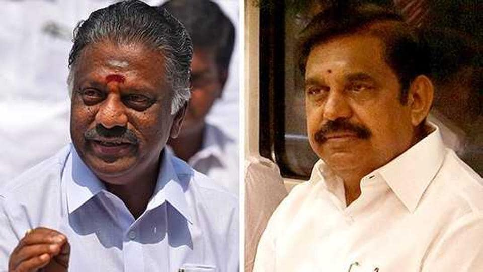 Tamil Nadu's ruling  AIADMKparty was split into two factions between O Panneerselvam (left) and state chief minister EK Palaniswami (right)after party supremo J Jayalalithaa passed away and in fighting broke out over VK Sasikala succeeding her.