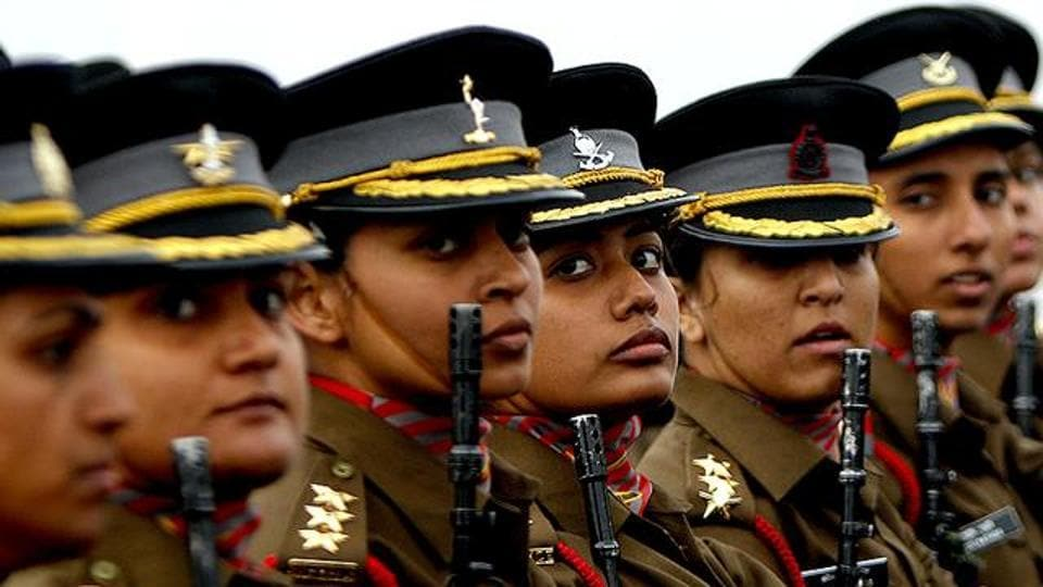 Indian Army officers during the Army Day parade in New Delhi.