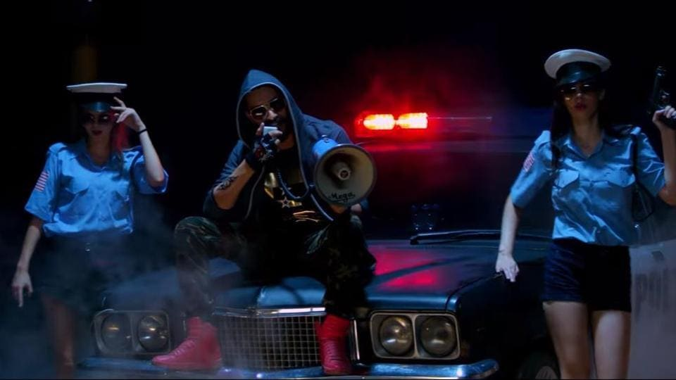A still from the video of song 'Chandigarh Police' by Pretty Bhullar and G Skillz